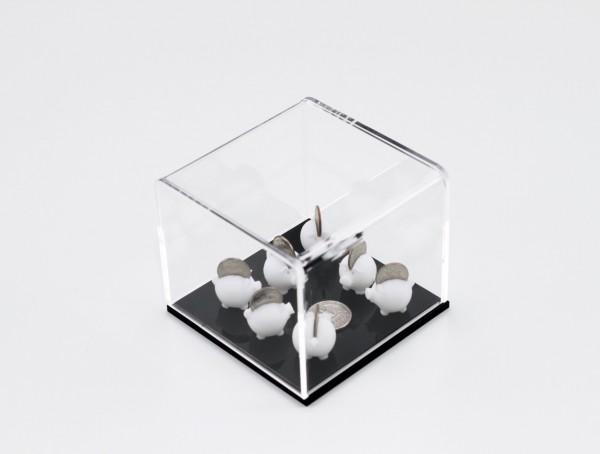 Caixa de acrílico com peças de ABS em impressão 3D e moedas 8X10X10cm [AFG006]